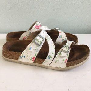 161a02a74ddf Birkenstock Shoes - Birkenstock White Floral 3 straps Sandals